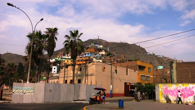 Cerro San Cristobal above the puebo, from Alameda de los Descalzos