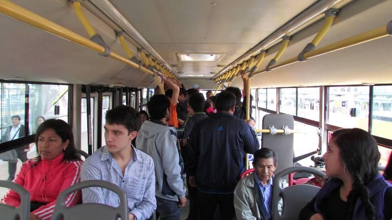 metropolitano bus rapid transit crowded