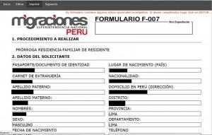 peru carnet extranjeria formulario f-007