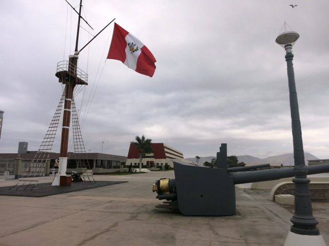 CALLAO PUNTA PERU 168 naval school canon flag